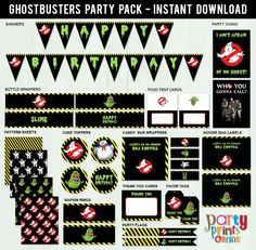 Ghostbusters Party Pack (Printable, Instant Download, DIY, Party Package) by PartyPrintsOnline on Etsy