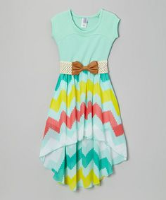 Look what I found on #zulily! Rainbow Mint Belted Hi-Low Dress - Girls by Maya Fashion #zulilyfinds