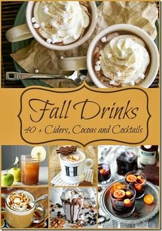40+ Fall Drink Recipes including Ciders, Cocoas,and cocktails. Some hot and some cold. Perfect to get you through the holidays