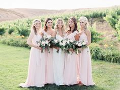 pink bridesmaid dresses - http://ruffledblog.com/summer-temecula-vineyard-wedding