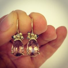 "@ruthtomlinsonjewellery's photo: ""#pinktourmaline and #grey-diamonds in #yellow gold #oneofakind"""