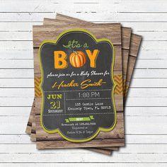 Fall baby boy shower invitation. Pumpkin baby shower for boy. Chalkboard Little pumpkin is on the way. Printable digital invite. B173