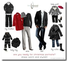 christmas family photo...what to wear. This is a photographers dream for a family to dress like this