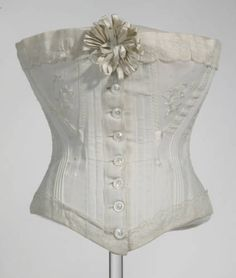 Corset, 1898. Cotton coutil, silk thread, lace, metal. Maker unknown. Gift of Mrs. Charles F. Batchelder. 1977.117.28
