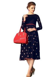 Blue embroidered georgette party-wear-kurtis - V and V Shop - 1585192 Party Wear Kurtis, Shops, Dresses For Work, Satin, Clothes For Women, Awesome, How To Wear, Blue, Shopping