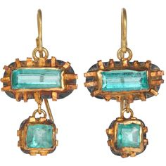 Emerald Double Drop Aloo Alaa Earrings by Judy Geib. So primitive and rough - and the horizontal settings make me happy.