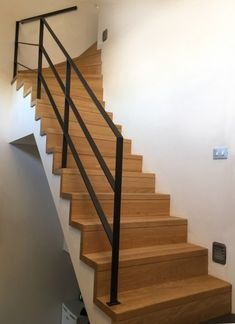 steel railing combined with wooden stairs House Stairs combined Railing Stairs steel wooden
