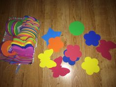 "A variety of foam shapes in a variety of colors.  Spread them on the floor or table in the middle of your group. Ask the kids to find a ""blue"" or ""circle"". You can switch it up and ask for both ""orange star"".  They love it & so simple! https://facebook.com/Bellas playhouse"
