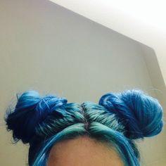 Blue ear buns :)