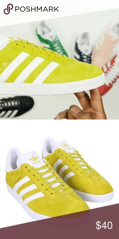 c1c7d0c4cacf Adidas Gazelle Yellow Low Sneaker in bright yellow lime color by Adidas.  Worn fewer