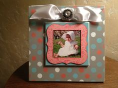 Coral, Aqua, Gray Magnetic Photo Frame Embellished Tablescape- 8x8 Painted Wood Frame: Polka Dots