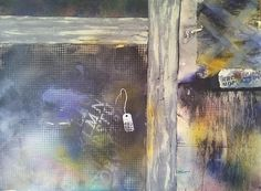 Hidden Treasures of Highlands Mixed Media & Collage 30x22 $1650 unframed Description: This paintings was inspired by a trip to the antique and used furniture shops in the Highlands of Denver.  I wanted to capture the texture and feel of old wood and screen crates in a semi-abstract way.
