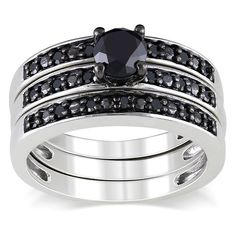 Black diamond bridal-style ring setSterling silver jewelry Click here for ring sizing guideGift box included