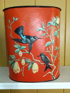 Wastebasket Hand Painted Flowers and Birds by cabinintheheartland, $25.00