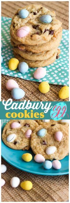 These Easter Cadbury Egg Cookies take chocolate chip cookies to a whole new level! You can't go wrong adding Cadbury eggs to anything in my opinion. :) via @favfamilyrecipz