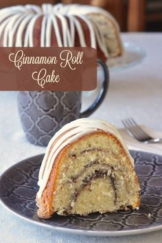 Cinnamon Roll Cake - an old fashioned easy to prepare, moist and delicious cake for coffee breaks, weekday dessert, packed lunches or weekend brunch.
