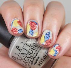 Wondrously Polished: NAGG - Day 7: Primary Colors, Rose Nail Art