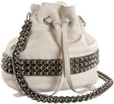 love this white bag Diy Tote Bag, Diy Bags, Studs And Spikes, Studded Purse, White Handbag, Everyday Bag, Purses And Handbags, Cross Body, Bucket Bag