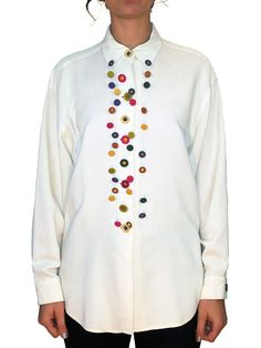 TODD OLDHAM Button Embellished Shirt SIZE SMALL Vintage 90s Time Seven 7 | eBay