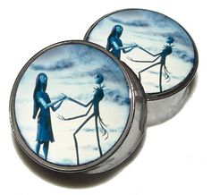 "Moonlight Jack & Sally Plugs - 1 Pair (2 plugs) - Sizes 0g, 00g, 7/16"", 1/2"", 9/16"", 5/8"", 3/4"", 7/8"", 1"" - Made to Order on Etsy, $18.95"