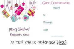 Free Editable Christmas Gift Certificate Template | 23 Designs Merry Chistmas, Free Christmas Gifts, Free Christmas Printables, Holiday Gifts, Christmas Diy, Xmas, Christmas Gift Certificate Template, Free Gift Certificate Template, Printable Certificates