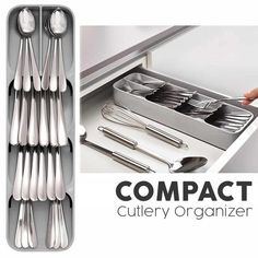 FEATURES: This Compact Cutlery Organizer is a new and space-saving way of storing your cutlery and organizing your kitchen drawers. Cutlery icons for easy Kitchen Organisation, Kitchen Ideas For Storage, Organizing Kitchen Drawers, Storage Ideas, Kitchen Drawer Inserts, Diy Kitchen Decor, Kitchen Linens, Organization Ideas, Interior Design Kitchen
