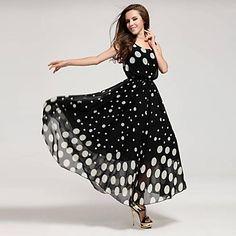 Women's+Polka+Dots+Plus+Sizes+Sleeveless+Long+Maxi+Dress+–+USD+$+22.99