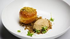 Brioche Doughnuts with Orange Curd, Coffee Crumb and Latte Ice Cream