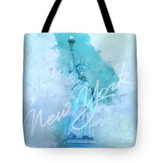 New Yor City Tote Bag featuring the digital art New York City - Statue Of Liberty - Blue by Jean-Luc Tisserand