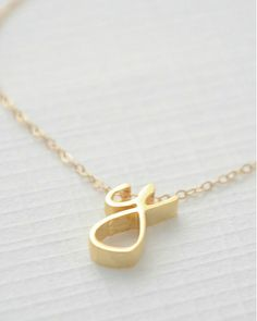 gold initial cursive necklace
