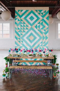 geometric print backdrop // photo by Lauren Fair