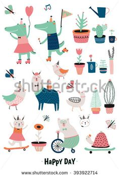 Cute Funny Animals and Flowers Set Isolated on White background in Vector. Good for posters, stickers, cards, notebooks and other kids games and accessories. Crocodile, bunny, goose, bear, birds, lama