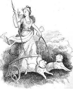 A. Chase's Illustrations for Legends of the Norseland . Goddess Freyja in her chariot