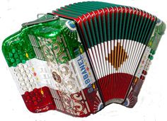Gabbanelli acordion in traditional Mexican colors, ready to play Norteño Music  (Could be italian colors)