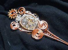 The Ophelia - Steampunk Hair Stick Jewelry Chopstick with Copper Wire Swirl, Silver Filigree, and Pre World War II Gruen Watch Clock Gears by rocktopusjewelry, $25.00