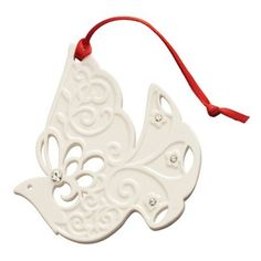 The Belleek Living Dove Ornament features a beautifully pierced Dove design within a handcrafted hanging ornament. Ready to add to your Christmas Tree. Belleek Pottery, Christmas Decorations, Christmas Ornaments, Hanging Ornaments, Beautiful Gift Boxes, Red Ribbon, Unique Gifts, Gems, Hand Painted