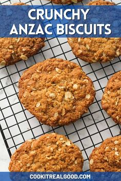 Crunchy Anzac Biscuits are so quick and easy to make. These classic Aussie sweet oat cookies are made from everyday ingredients and are a firm favourite anytime of year. Anzac Cookies Recipe, Oat Cookies, Baking Recipes, Cookie Recipes, Vegan Recipes, Easy Anzac Biscuits, Easy No Bake Cookies, Aussie Food, Biscuit Cake