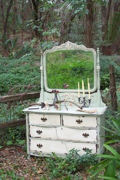 Decor: distressed shabby chic white and mint dresser with mirror Distressed Furniture, Repurposed Furniture, Shabby Chic Furniture, Vintage Furniture, Painted Furniture, Metal Furniture, Vintage Shabby Chic, Shabby Chic Style, Shabby Chic Decor