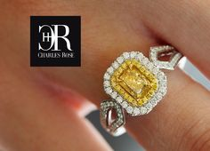 Fancy Yellow Radiance – An Australian yellow Diamond with a twin 'halo' of brilliants and looped brilliant set shoulders. Dress Rings, Halo, Diamond Earrings, Twin, Fancy, Yellow, Rose, Jewelry, Fashion