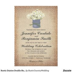 Rustic Daisies Double Hearts Burlap Wedding Invite