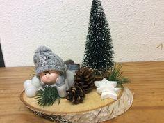 Kerststukje op hout