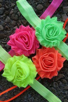 Neon Shabby Flower Collection - Pink/Green/Orange/Yellow - Infant/Newborn Girl Headband collection. $12.50, via Etsy. Super cute!