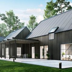 visualization of a unique house with dark colored facade Barn House Design, Modern Barn House, Facade Design, Exterior Design, Architecture Design, Wooden Facade, Black House Exterior, 3d Architectural Visualization, 3d Visualization