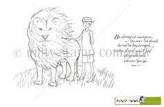 "This  adorable collector's stamp kit is from Illustrator Phyllis Harris.  She is an artist for the popular HIGHLIGHTS magazine for children as well as stamp illustrator for Unity Stamp Company.  She has SEVERAL releases with Unity – and you simply can click HERE.  Boy and lion measures approximately 3.5″ x 4.5″.  ""Be strong and courageous. Do not be afraid; do not be discourage, for the Lord your God will be with you wherever you go"" sentiment measures approximately 1.75″ x 2..."