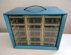 Vintage Industrial Metal Cabinet in BLUE by KimBuilt on Etsy, $15.00