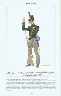 Great Britain: Plate 26. Foreign Troops King's German Legion, 1st Light Battalion, Private, 1808 Waterloo 1815, Battle Of Waterloo, Empire, Troops, Soldiers, War Of 1812, Napoleonic Wars, Jena, British Army