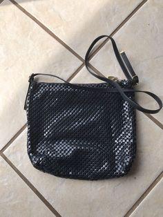 Whiting & Davis USA Vintage Navy Blue Metal Mesh Gold Small Shoulder Bag Purse  #WhitingDavis #ShoulderBag