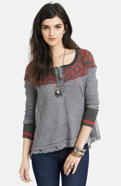 Free People 'Cabin in the Woods' Pieced Henley Top available at #Nordstrom