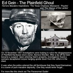 Ed Gein was a killer, body snatcher and one messed up guy. His story has helped to inspire many of horrors greats. Head to this link for the full article: http://www.theparanormalguide.com/1/post/2012/11/ed-gein-the-plainfield-ghoul.html