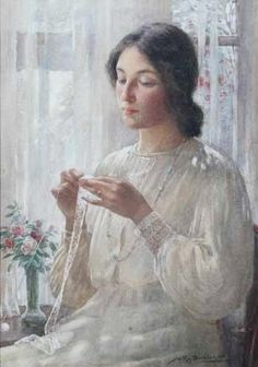 William Kay Blacklock - What artistry it takes to create so much interest in a white painting!  Pattern, texture and light...